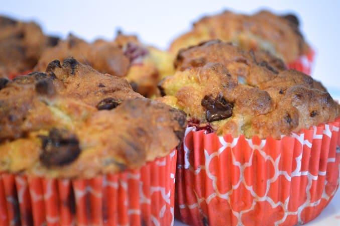 Gluten and Dairy Free Raspberry Choc Chip Banana Bread Muffins