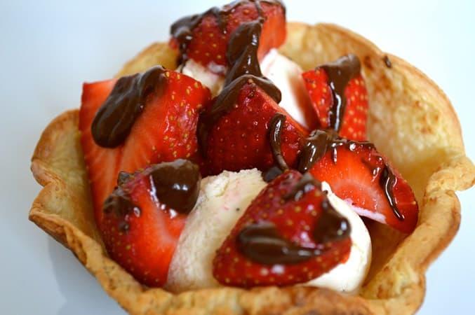 Gluten and Dairy Free Pancake Baskets with Strawberries & Ice-Cream
