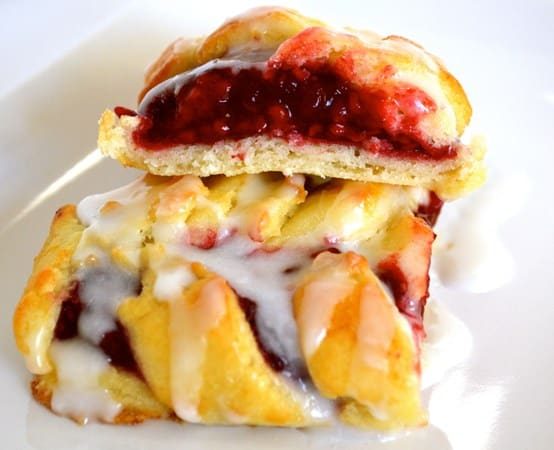 Gluten and Dairy Free Iced Raspberry Pastries