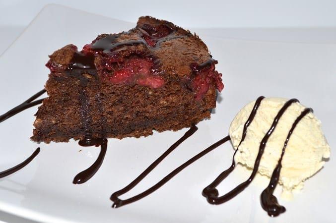 Gluten and Dairy Free Hot Chocolate Raspberry Cake