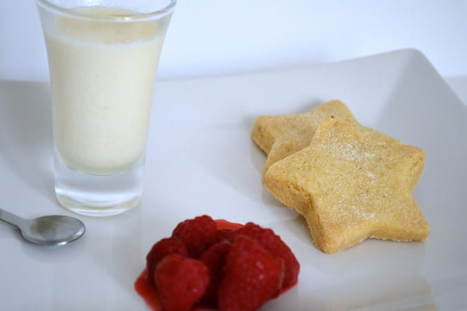 Gluten and Dairy Free Lemon Posset with Shortbread and Raspberries