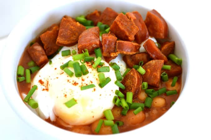 Gluten and Dairy Free Baked Beans, Poached Egg and Chorizo