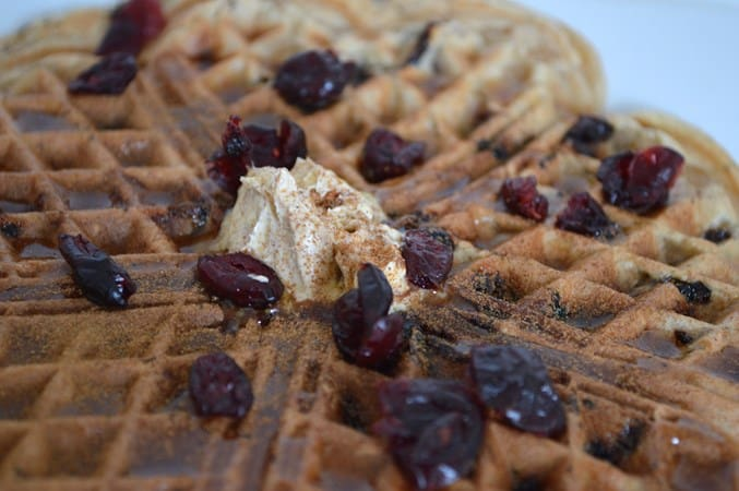 Gluten and Dairy Free Cranberry Waffles with Maple Syrup and Cinnamon (Vegan) Butter