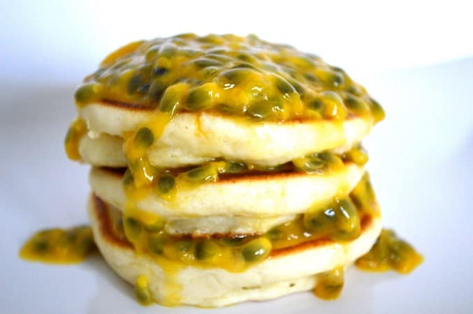 Gluten and Dairy Free Passion Fruit Pancakes