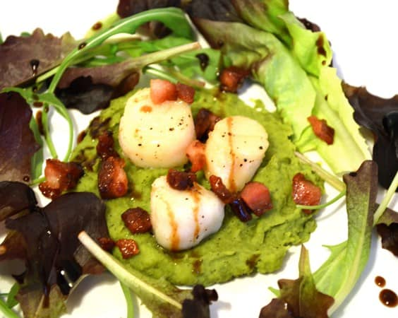 Gluten and Dairy Free Seared Scallops with Pea Puree and Pancetta