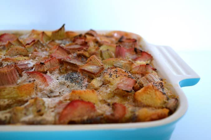 Gluten and Dairy Free Rhubarb Bread Pudding