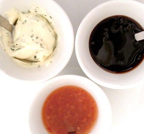 Dairy & Gluten Free Balsamic Glaze, Herb Mayo & Sweet Chilli Sauce