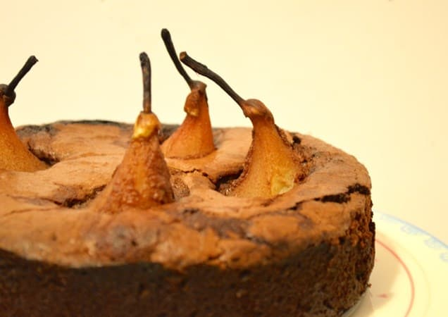 Gluten and Dairy Free Poached Pear Chocolate Cake
