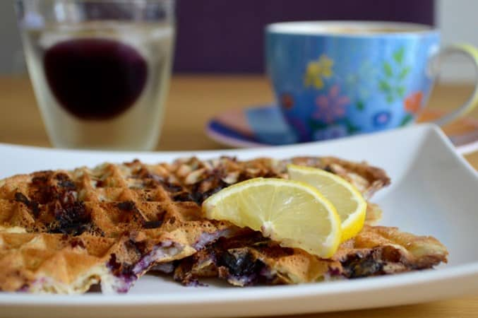 Gluten and Dairy Free Lemon and Blueberry Waffles