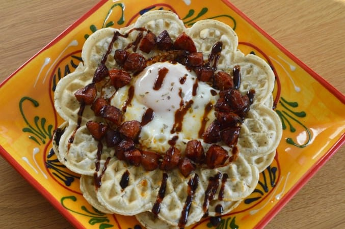 Gluten and Dairy Free Herby Waffles with Chorizo & Fried Egg