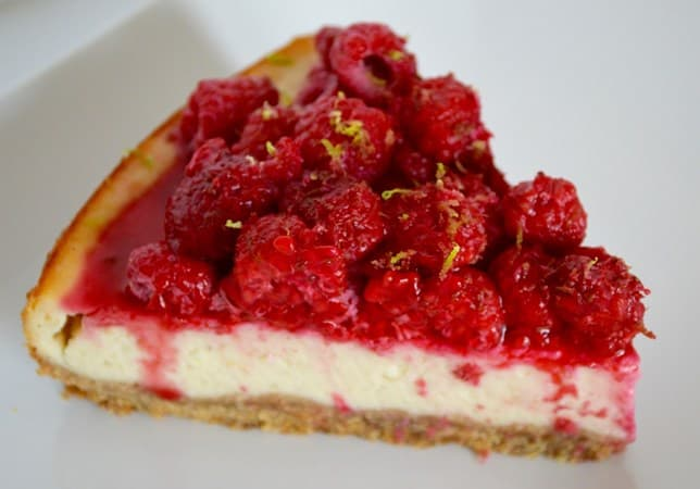 Gluten and Dairy Free Raspberry and Lime Cheesecake