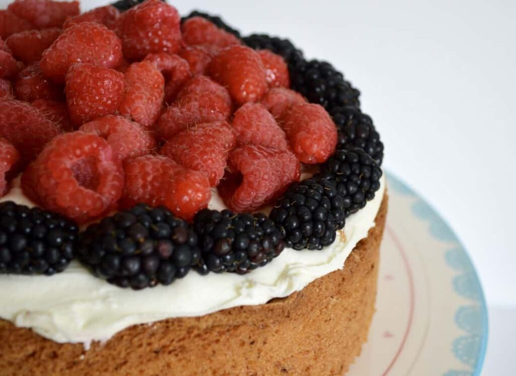 Gluten and Dairy Free Blackberry & Raspberry Madeira Cake