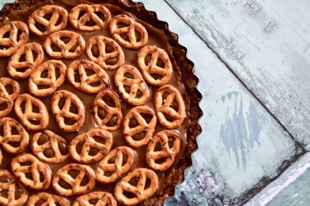 Gluten and Dairy Free Chocolate Caramel Peanut Pretzel Pie