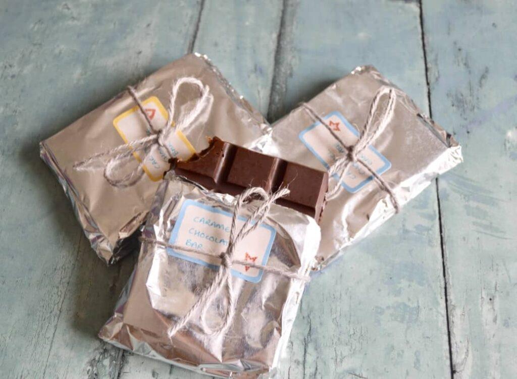Gluten and Dairy Free Caramel Chocolate Bars