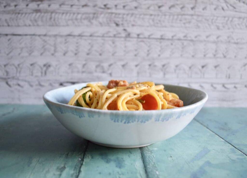 Gluten and Dairy Free Cajun Lemon Salmon Spaghetti