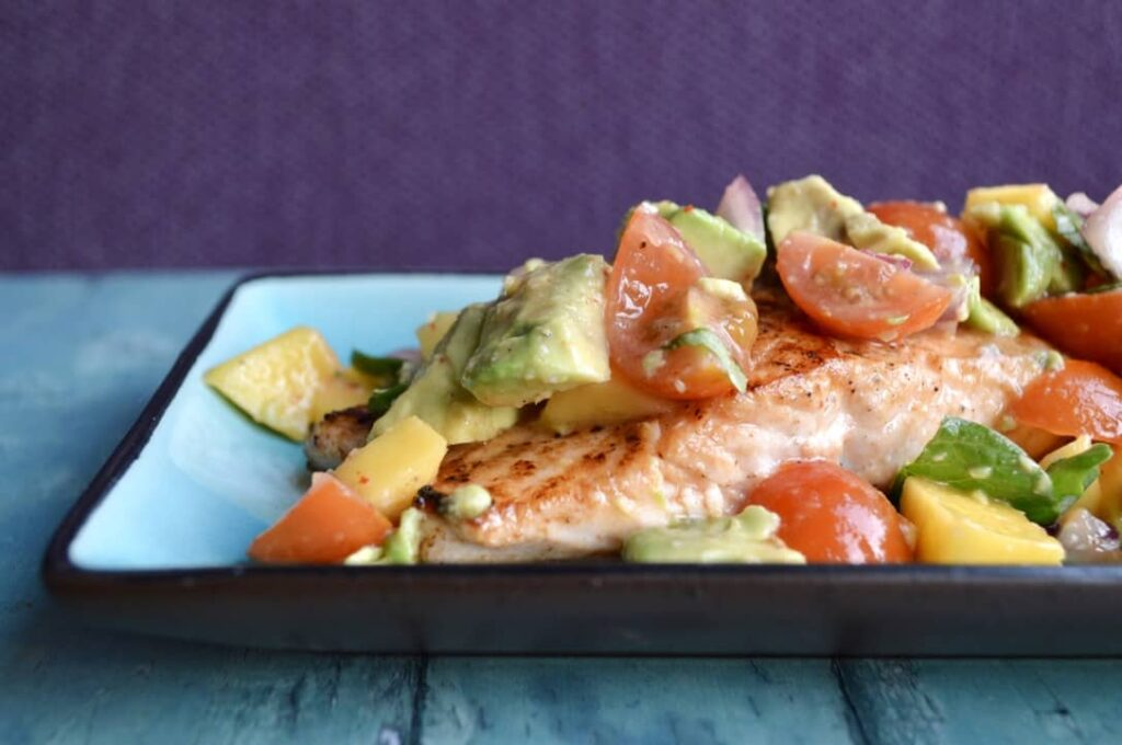 Gluten and Dairy Free Avocado Salsa Salmon