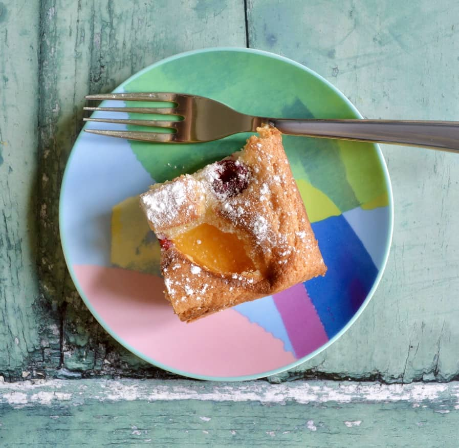 Gluten and Dairy Free Peach Melba Cake