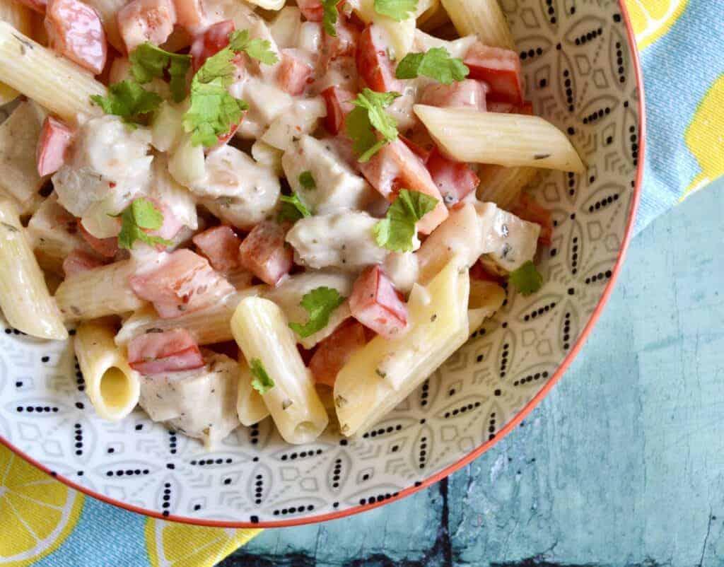 chilli chicken pasta salad