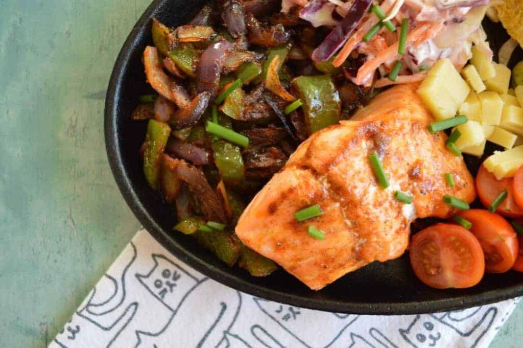 spiced salmon tacos