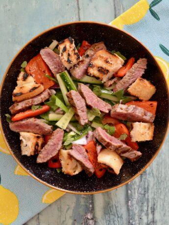 seared beef panzanella salad